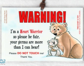 CHD Awareness Heart Warrior Please Don't Touch Me Sign, Stroller Tags for Baby, Toddler with Heart Defects