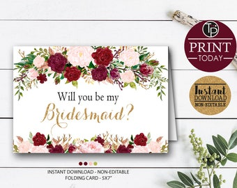 BRIDESMAID FOLDING CARD, Will you be my Bridesmaid Card, Instant Download, Bridesmaid Printable, Bridesmaid Print, Asking Bridesmaid. 0204