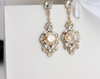 Gold Crystal Bridal Earrings Wedding Earrings for Bride Golden Shadow Rhinestone Champagne  Evening and formal wear ESTELLA