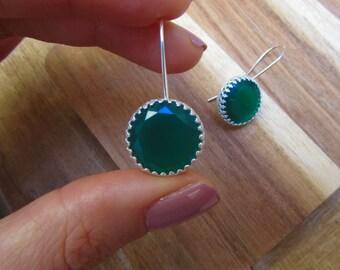 14 mm green onyx and silver earrings-Round silver earrings-May birthstone earrings set