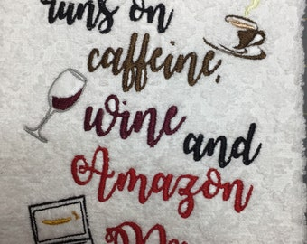 Mom Caffeine and Wine Embroidery Design