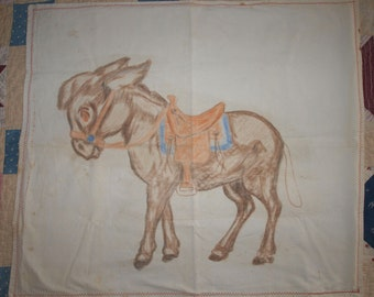 Vintage Handpainted Donkey Picture
