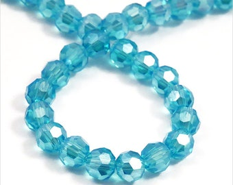 Set of 50 4mm Aquamarine Crystal faceted beads