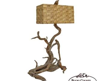 Mid Century Large Driftwood Floor Lamp With Sabutan Dornbush Woven Shade