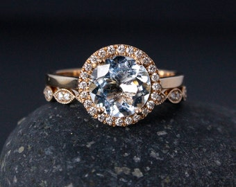 Rose Gold Aquamarine Ring - Milgrain Leaf Band - Non-Diamond Engagement Rings, Conflict Free