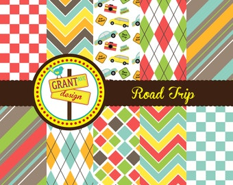 Road Trip Digital Papers - Backgrounds for Invitations, Card Design, Scrapbooking, and Web Design