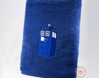 Doctor Who Bath Towel - TARDIS - Embroidered Sci-Fi Bathroom Decor