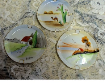 Ardalt Lenwile China Made In Japan Hand Painted Set of 3 Coasters Ashtrays