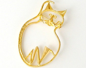 Vintage Cat Brooch, Kitschy Cat Pin, Large Abstract Cat Lovers Brooch.