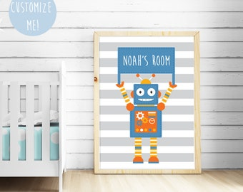 Robot Banner Name Nursery Print, Customize your own. Choose your own background pattern, colour and name!