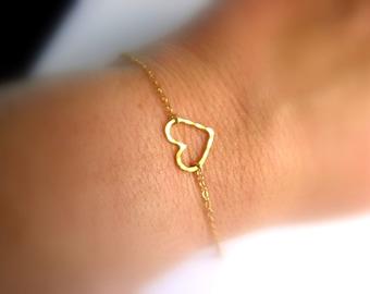 Dainty Heart Bracelet - 14K Gold Filled bracelet with Vermeil Heart - wedding bracelet - bridesmaid bracelet -gift for her under 25 usd