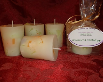 6 Cucumber Cantalope scented large votives