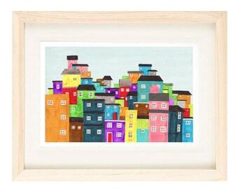 "RIO DE JANEIRO, Brazil - Colorful Favela Illustration Art Print Poster 8 x 10"" or 11 x 17"", South America, Wall Decor, Orange, Blue, Red, Ye"