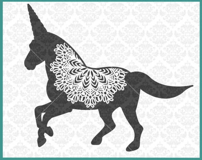 CLN0358 Unicorn Mandala Zentangle Filigree Unicorns Horns SVG DXF Ai Eps PNG Vector Instant Download Commercial Cut File Cricut Silhouette