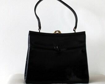 Vintage 1950s Black Patent Leather purse