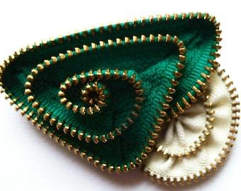 Green and Ecru Geometric Flower Floral Brooch / Zipper Pin with Brass Teeth by ZipPinning -2682