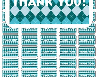 "50 Argyle Teal and Aqua Thank You Envelope Seals / Labels / Stickers, 1"" by 1.5"""