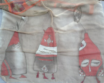 Hand painted scarf 85x80 cm