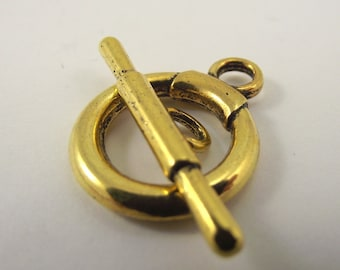 2 Large Smooth Gold Pewter Toggle Class, Large Toggle Clasp