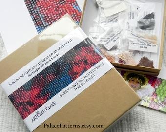 Gift Boxed Loom, Single or 3 Drop Peyote Bracelet KIT for Miyuki 8/0 Seed Beads - Beading Kit in Gift Box - Pattern 106 for 8/0 Beads