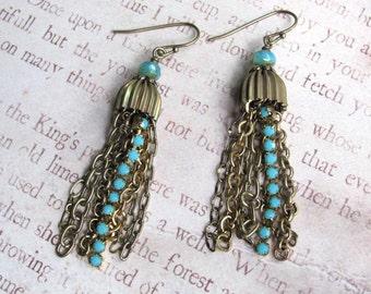 Turquoise Chain Earrings, Swarovski Earrings, Chain Earrings, Turquoise Earrings, Dangle Earrings, Rhinestone Earrings, Turquoise Jewelry