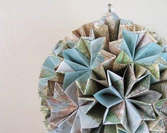 Paper Globe - Large Origami Kusudama Sculpture - Eco Decor - Recycled Book Map Paper
