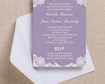 Personalised Lavender/Lilac and White Vintage Lace Wedding Invitation & RSVP with envelopes