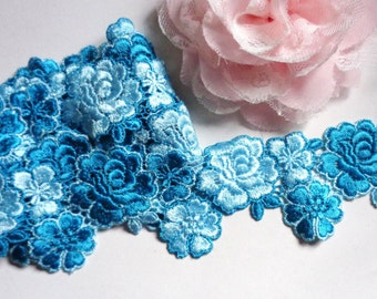 1 1/2 inch wide shade of blue lace trim 22 inch cut