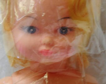 """DOLL, 14"""" BABY Doll, Movable Arms and Legs, Blue Eyes, Blushed Cheeks, Pink Lips, Blonde Hair, Fair Skin Tone, White Shoes  AM 487"""