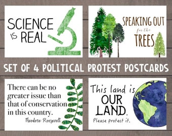 Science March - Protest Postcard - Science is Real - Climate Change Real - Activism Postcards - Resistance - Anti Trump - Printable Postcard