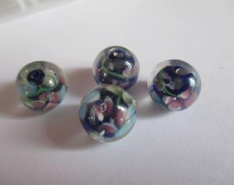 4 lovely Lampwork Glass lampwork beads