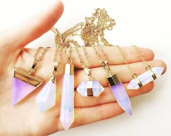 50% OFF Opalite necklace, gemstone necklace, gold necklace, opal necklace, quartz, druzy necklace, crystal necklace, aura necklace, lalaboho