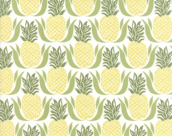 Bungalow Pineapple Fabric White Green #27292-21 by Kate Spain for Moda Fabrics, One yard, Bungalow Fabric, IN STOCK