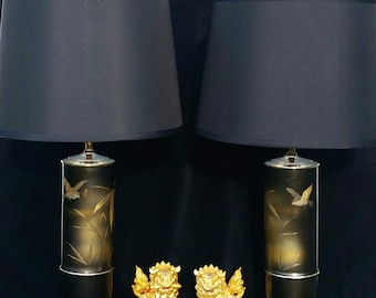 Mid Century Lamps, James Mont Chinoiserie Lamps, Hollywood Regency Lamps, Chinoiserie  Lamps,