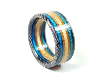 Handmade Black and Blue Recycled Skateboard Ring