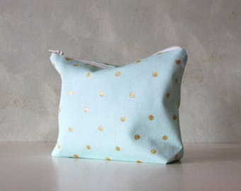 Mint polka dot cosmetic bag, personalized makeup bag, Pencil pouch, Monogrammed, Bridesmaid gift