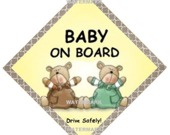 BABY ON BOARD  - 2 Bears Car sign indicating you have a child on board. Custom fixings - * see below