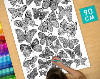 Poster / Poster deco coloring (90cm) butterflies - coloring for adults