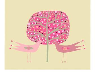 Bird illustration 10 x 8 art print, Bird and tree print, Graphic art, Childrens bird art, Modern wall art, Birds in love, Pink cream drawing