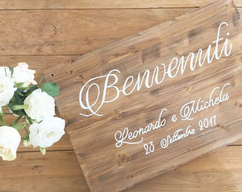 Custom calligraphic antique wood wedding sign