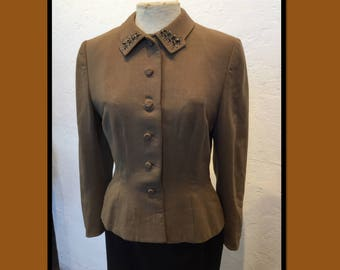 Vintage 1950s women's suit jacket with beaded collar