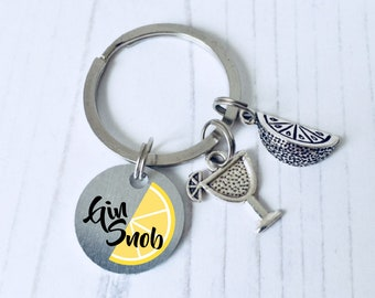 Gin Keychain, Gin Keyring, Gin And Tonic Gift, Alcohol Keyring, Alcohol Jewellery, Gin Gifts For Friend, Gin Gift Idea, WORLDWIDE SHIPPING