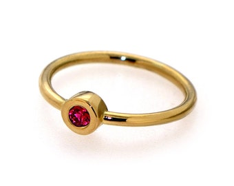 DeLight  Ruby Engagement Ring, Ruby Ring, Stacking Ring, Thin Gold ring, Gemstone Ring, 14k Solid Gold Ring, Made to Order