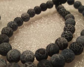 1 chapelet perles de 8mm perles-environ 45 de veine de Dragon noirs
