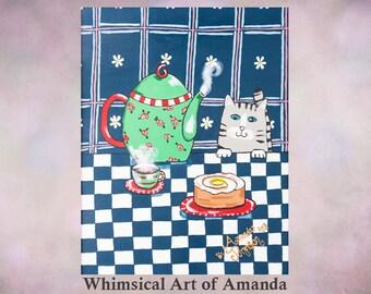 Cat art print, whimsical cat art, kitty cat art, gray tabby cat, teapot art, teapot cat, teapot decor, kitchen decor, tea time, gift for her