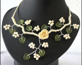 """Floral necklace cream vanilla and leaf green """"custom"""""""