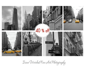 Black and white New York City photography, nyc print set of 8, New York gallery wall decor, 11x14,  8x10 NYC art prints, New York pictures