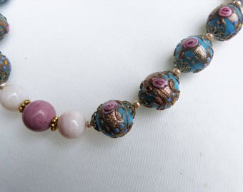 Antique Venetian Wedding Cake Beads Necklace with Pink Opal and Rhodocrosite