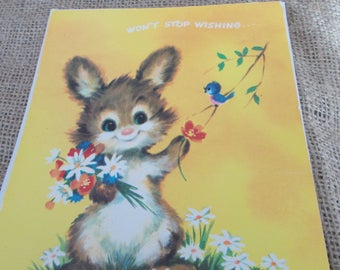 vintage get well card bunny