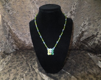 Yellow and Green Flower Necklace